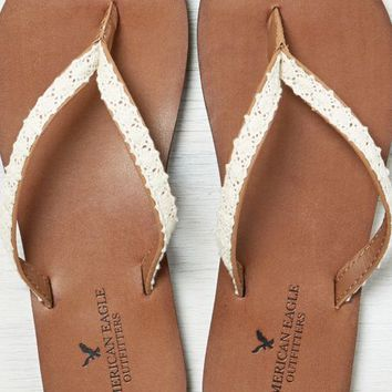 AEO Women's Crochet & Leather Flip Flop (Cognac)