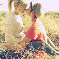 blonde, boy, couple, cute, cute., field. hoodie - inspiring picture on Favim.com