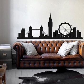 ik2380 Wall Decal Sticker London England city landmarks panorama living room bedroom