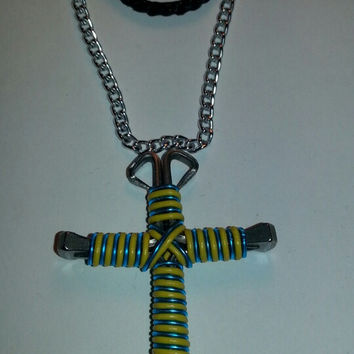 Yellow and turquoise candy cane wire wrapped horseshoe nail cross necklace jewelry