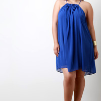 Solid Chiffon Ruffle Detail Dress