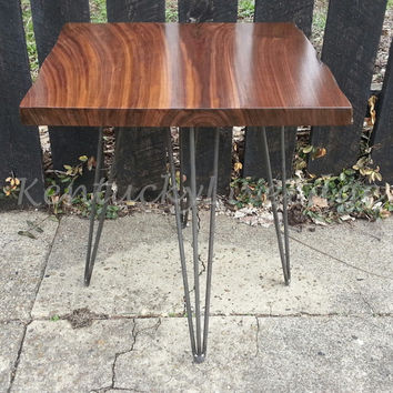 Walnut Side Table, End Table, Steel Legs,  Industrial Table, Bed Stand, Night Stand, Live Edge Table, Side Table, Sustainable, Reclaimed