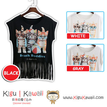 New Kitten Beach Buddies Summer Stylish Loose Tshirt Korean Style Tops 3 Colors KK738