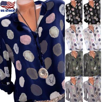 US Womens Polka Dot V Neck Button Down Tops Summer Ladies Long Sleeve T Shirt OL