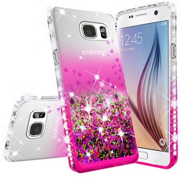 Samsung Galaxy S7 Edge Case Liquid Glitter Phone Case Waterfall Floating Quicksand Bling Sparkle Cute Protective Girls Women Cover for Galaxy S7 Edge - Hot Pink