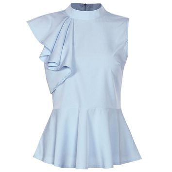 Peplum Ruffle Asymmetric Sleeveless Blouse