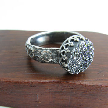 Black Quartz Druzy Stone Ring Sterling Silver Sparkle Black Stone Ring Black Flower Sterling Silver Ring Handmade Metal Jewelry