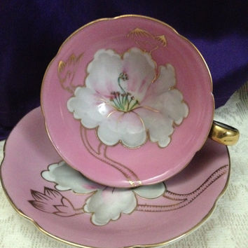 Royal Sealy Japan Teacup & Saucer, Black, Bubble Gum Pink, Hand Painted White and Gold Exotic Floral, Black and Pink Teacup, Vintage Display
