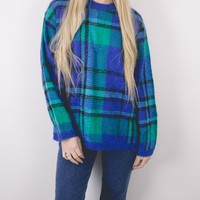 Vintage Teal Plaid Knit Sweater