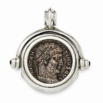Sterling Silver Antiqued Roman Bronze Coin Pendant