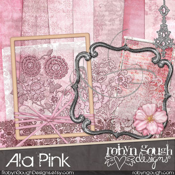 Digital Scrapbook Kit Clipart - Ala Pink Shabby Chic Baby Girl