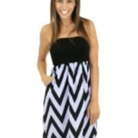 Lilac and Black Short Chevron Dress with Pockets