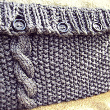 Knitted Laptop Sleeve Computer Cozy Electronic Case Gray Grey Cable Knit With Buttons Gadget Accessories Laptop Bag