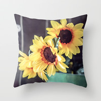 Sunflowers in my kitchen Throw Pillow by Studio70