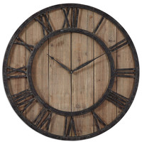 "Powell 30"" Aged Wood Wall Clock"