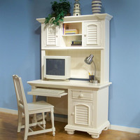 American Woodcrafters BKIT-6510-342-6510-546-6510-774 Cottage Traditions Youth Eggshell White Computer Desk, Hutch and Chair