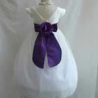 Flower Girl Dress VB IVORY PURPLE Wedding Children Christmas Easter Recital Pageant Bridesmaid Communion Church Toddler Baby Cheap