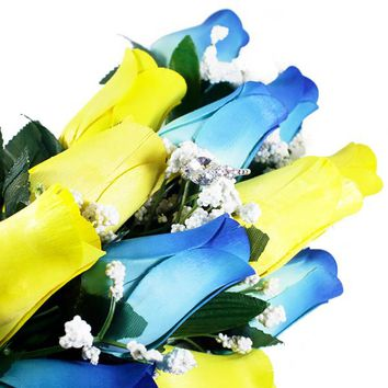 Baby Blue & Yellow Bouquet | Jewelry Roses®