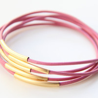 Set of 5 Pink leather Bracelets 24k mate gold by TheUrbanLady