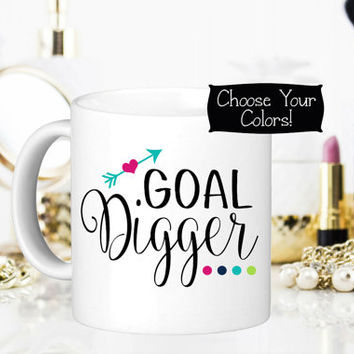 GOAL DIGGER Coffee Mug, Business Office Decor, Gift for Her, Boss Gift, Quote Mug, Office Idea, Birthday, Drinkware, Entrepreneur Accessory