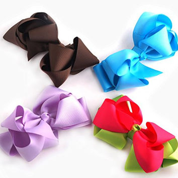 "Mike & Mary® Large Hair Bows for Girls Grosgrain Ribbon Hair Barrettes with Alligator Clips Clamp Hair Pins Headdress Hair Flower Girls Hair Accesorries (4pcs 4.5"" light blue & lavender & brown & rose red green)"