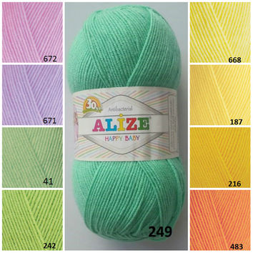 Baby yarn, Yellow orange green pattern yarn, Knitting yarn, Crochet yarn, Knitting supplies, Hat yarn, Knitting baby yarn, Alize baby yarn