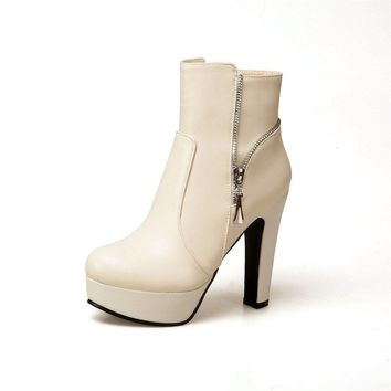 Faux Leather Zipper High Heels Platform Boots 7380