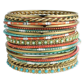 Gold, Coral and Turquoise Bangles