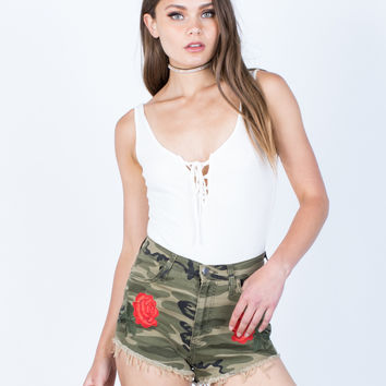 Rose Embroidered Camo Shorts