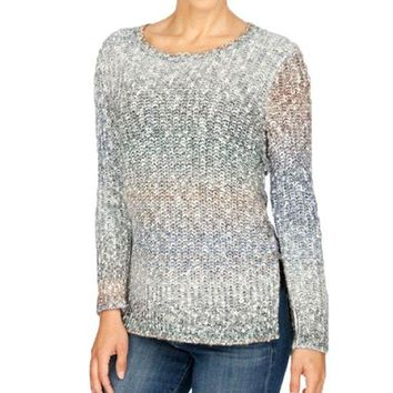 DCCKAB3 Lucky Brand Ombre Lace Up Pullover Sweater Multi