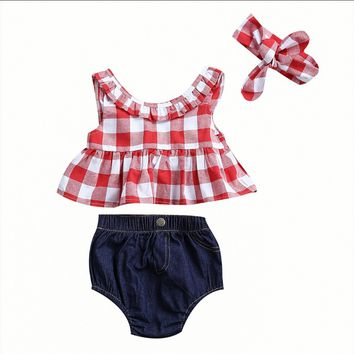 Plaid Clothes Set For Baby Girl