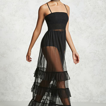Sheer Ruffle Tulle Maxi Dress