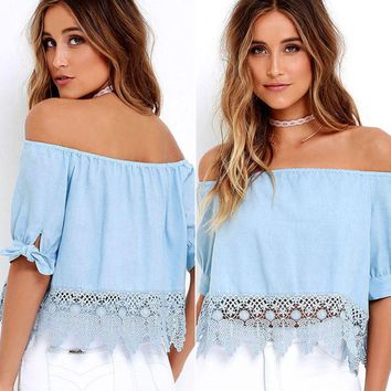 Women's Lace Off-shoulder Crop Tops Solid Casual Blouses Summer Beach T-Shirt US