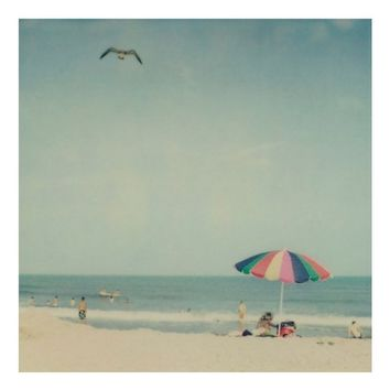 Beach photograph - Sunshiny day - Fine art polaroid photo in retro colors - Umbrella, aqua, picnic, summer vacation