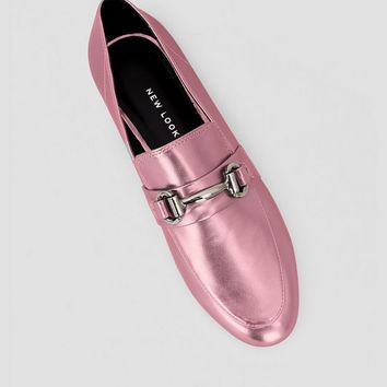 Pink Metallic Snaffle Trim Loafers