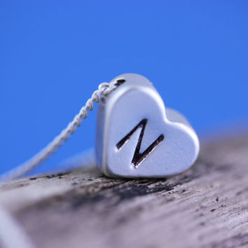 MONOGRAM NECKLACE . Tiny Heart Necklace with Initial . Heart Necklace On Sterling silver chain . Small  Silver Heart