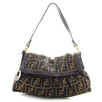 Fendi Chef Ff Zucca Canvas Leather Hobo Shoulder Bag 8br445
