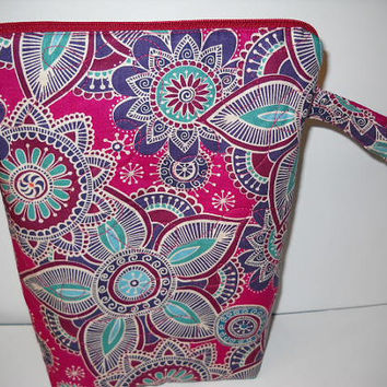Bohemian Print Quilted Project Bag, Tall Zippered Pouch, Crochet Project Bag, Knitting Project Bag