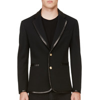 Versace Black Leather-trimmed Blazer