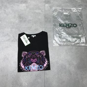 """Kenzo"" Women Fashion Tiger Head Letter Short Sleeve Casual T-shirt Top Tee"
