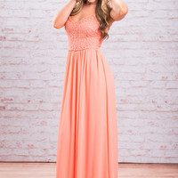 The Bellini Maxi Dress, Neon Peach