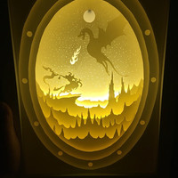 Dragon paper cut Light box Night light Accent Lamp Dragon art Table Lamp shadow box kids baby nursery  room decor Desk Lamp