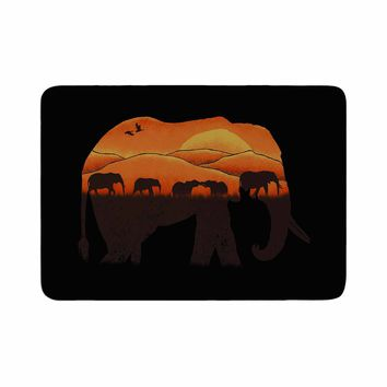 "Eikwox ""African Elephant"" Brown Orange Illustration Digital Animal Print Nature Memory Foam Bath Mat"