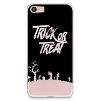 iPhone 8 Case, iPhone 7 Case, CasesByLorraine Halloween Trick or Treat Clear Transparent Case Flexible TPU Soft Gel Protective Cover for Apple iPhone 7 & iPhone 8 (P109)
