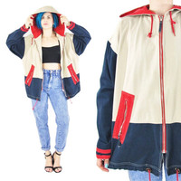 80s 90s Sailing Jacket Cotton Nautical Jacket Color Block Hooded Jacket Three Toned Unisex Jacket Pocket Red Navy Blue Khaki Jacket (M/L/XL)