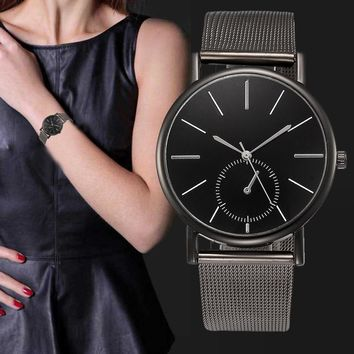 Simple Design Women Matal Mesh Band Quartz Watch Lady Elegant Luxury Stainless Steel Wrist Watches Women's Bracelet Clock #LH