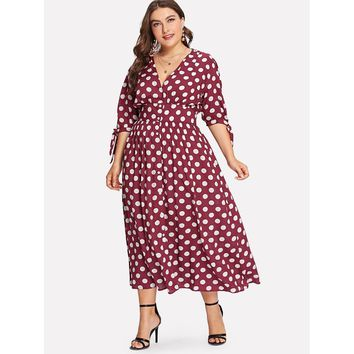 Plus Size Burgundy Fit And Flare Polka Dot Dress