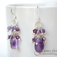 Amethyst Earrings for Girls Long Drop Shape Fashion Earrings 925 Silver Hook Handmade by Flower GemStone