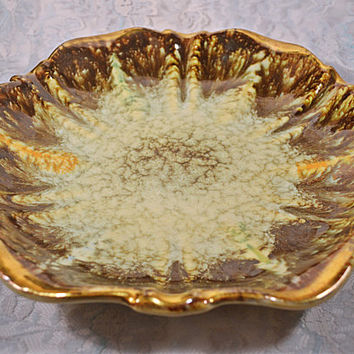 West Germany Pottery Dish, Mid Century Shallow Bowl