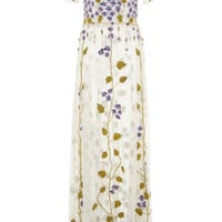 Cornely Violet Embroidered Tulle Dress